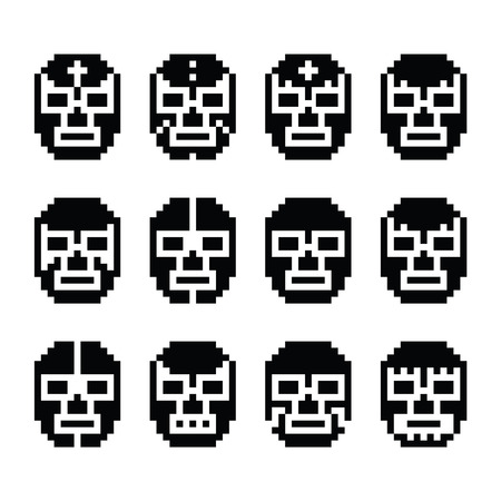 libre: Lucha Libre, luchador pixelated Mexican wrestling masks black icons