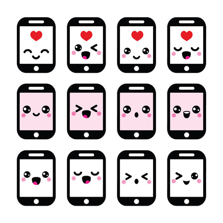 Japanese cute Kawaii character - mobile or cell phone icons set Vector