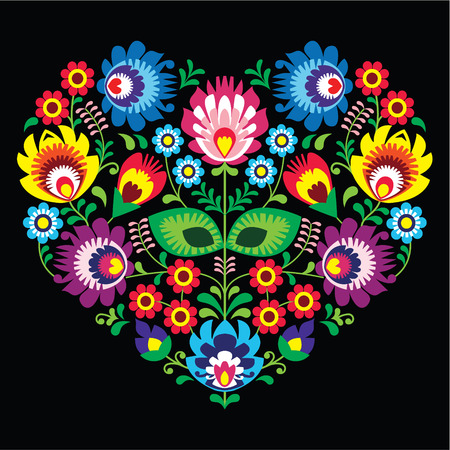Polish, Slavic folk art art heart with flowers on black - wzory lowickie, wycinanka  向量圖像