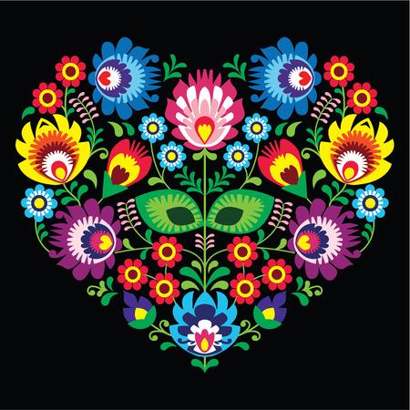 Polish, Slavic folk art art heart with flowers on black - wzory lowickie, wycinanka  Vettoriali