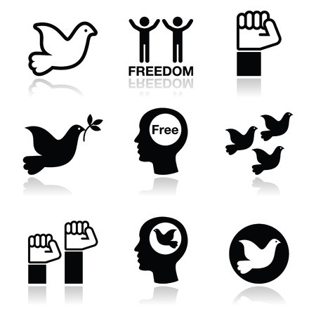 dove with olive branch: Freedom icons set - dove and fist symbols  Illustration
