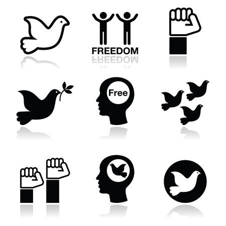 Freedom icons set - dove and fist symbols  Çizim
