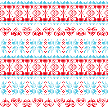 Winter, Christmas seamless pixelated pattern with snowflakes and hearts Vector