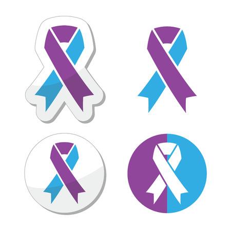 awareness ribbon: Purple and blue ribbon - pediatric strokes awareness