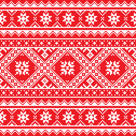 slavic:  Ukrainian, Slavic folk art knitted red and white embroidery pattern