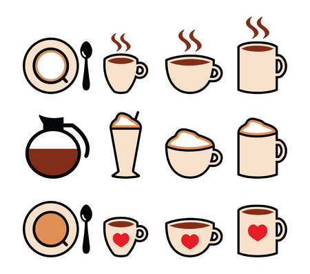non: Coffee vector icons set in color  Illustration
