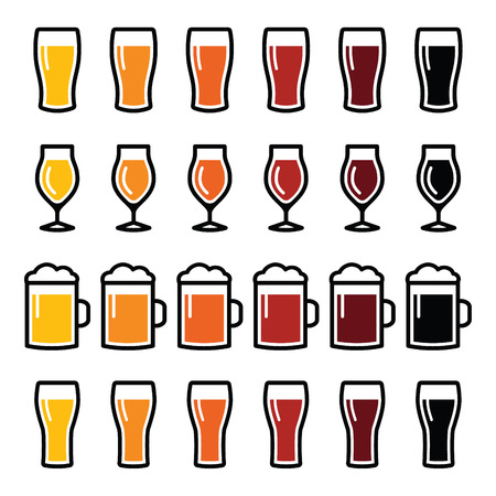 Beer glasses different types icons - lager, pilsner, ale, wheat beer, stout  Vectores