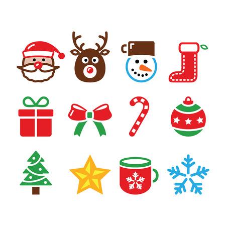 Christmas colorful icons set - Santa, present, tree, Rudolf   Vector