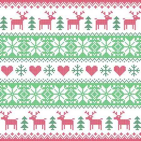 冬、クリスマスの赤と緑の鹿のシームレスなピクセル化されたパターン