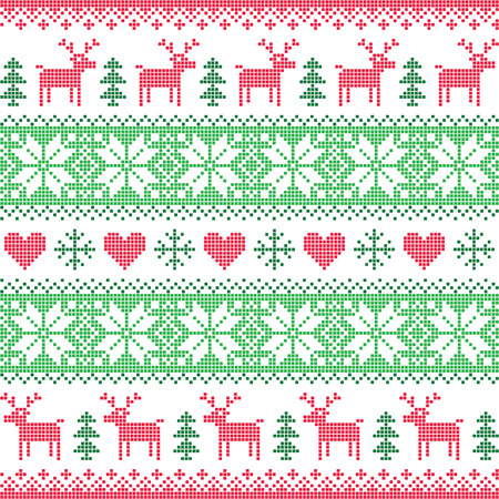 folk art: Winter, Christmas red and green seamless pixelated pattern with deer