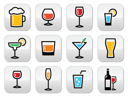 Drink colorful alcohol beverage buttons set Vectores