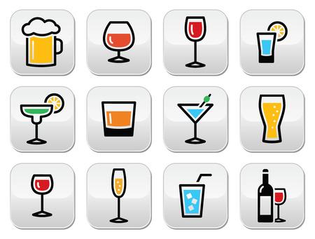 Drink colorful alcohol beverage buttons set Stock Illustratie