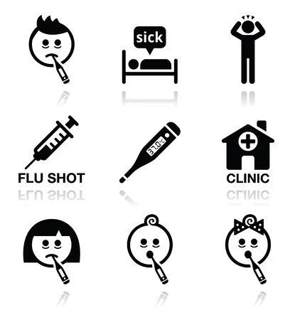 malato: Freddo, influenza, malati impostare le icone vettore Vettoriali