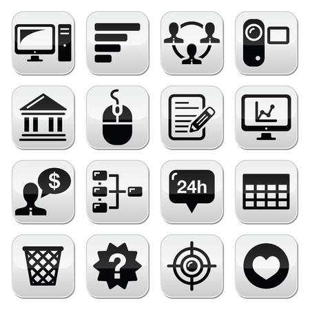 Website menu navigation black vector buttons set Vector