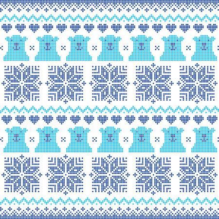 Winter, Christmas navy blue seamless pixelated pattern with polar bears Illustration