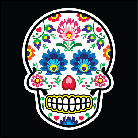 polish: Mexican sugar skull - Polish folk art style - Wzory Lowickie, Wycinanka