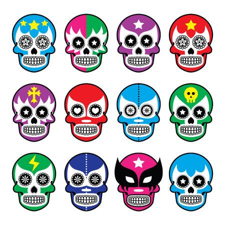 Lucha Libre - Zuckerschädelmasken Symbole Illustration