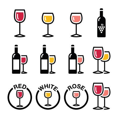 Soorten wijn - rood, wit, rose pictogrammen instellen Stock Illustratie