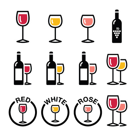 wine glasses: Wine types - red, white, rose icons set