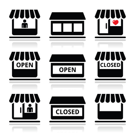 store front: Shop or store, supermarket vector icons set