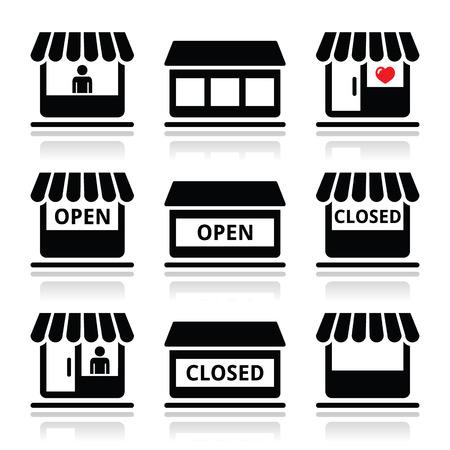 tienda de ropa: Tienda o almacén, supermercado Iconos vectoriales