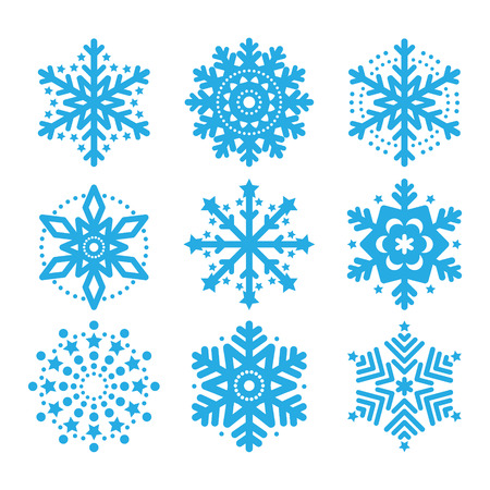 Snowflakes, winter blue vector icons set  Vector