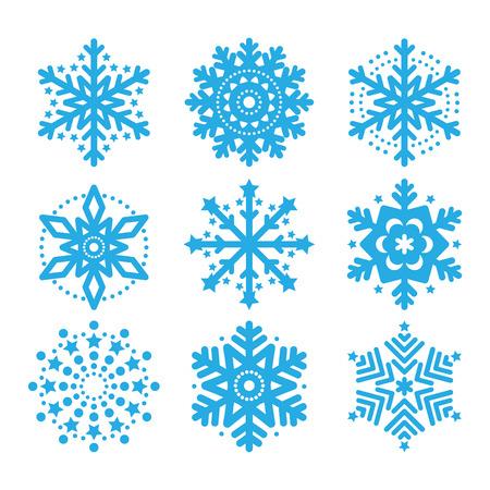 Schneeflocken, Satz Winter blau Vektor-Icons