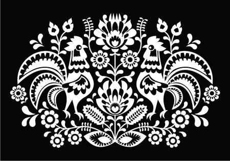 Polish folk art pattern roosters on black - Wzory Lowickie, Wycinanka  Vector