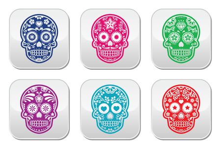 Mexican sugar skull, Dia de los Muertos colorful buttons set Vector