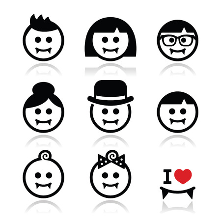 nerd girl: Vampires - man, woman, baby faces Halloween icons set