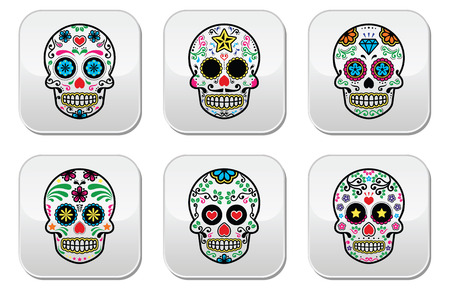 dode bladeren: Mexicaanse suiker schedel, Dia de los Muertos knoppen instellen op een witte achtergrond Stock Illustratie