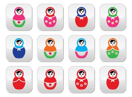 babushka: Russian doll, retro babushka vector colorful buttons set