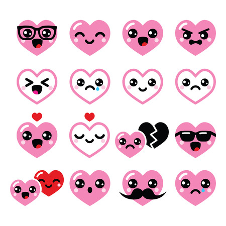 Kawaii hearts, Valentine s Day cute vector icons set  Illustration