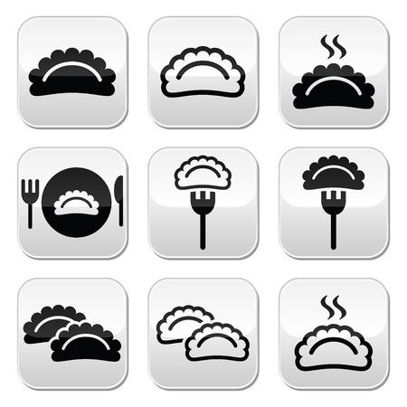 main course: Dumplings, food vector buttons set