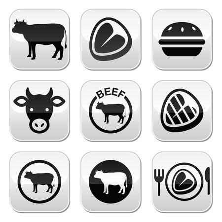 t bone steak: Beef meat, cow vector buttons set