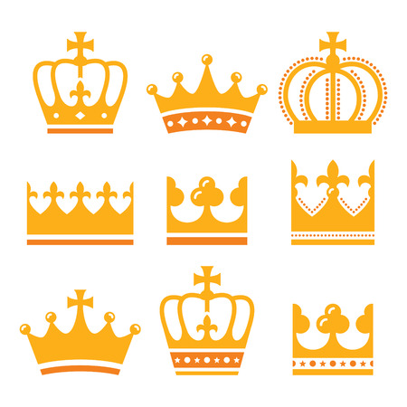 yellow crown: Crown, royal family gold icons set