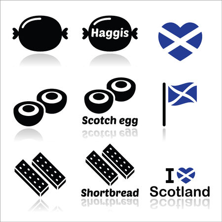 scotch: Scottish food - Haggis, Scotch egg, Shortbread icons set Illustration