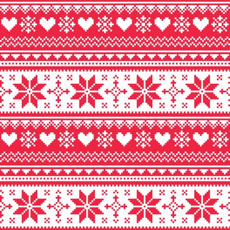 Nordic bezszwowe dziane wzór Boże Narodzenie czerwone serce