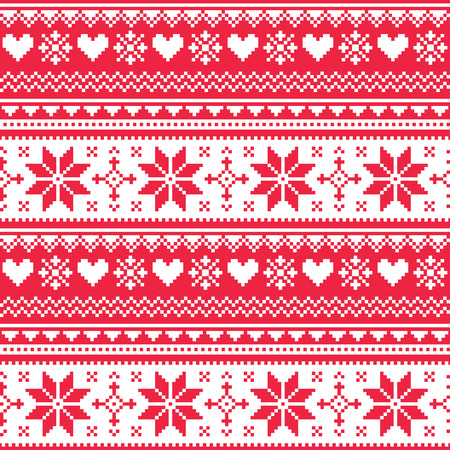 Nordic seamless knitted Christmas red heart pattern  Vector
