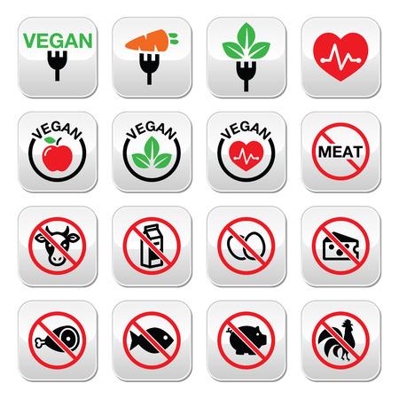 plato del buen comer: Carne de res, los botones del vector de la vaca establecido