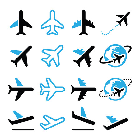 Plane, flight, airport  black and blue icons set Vettoriali