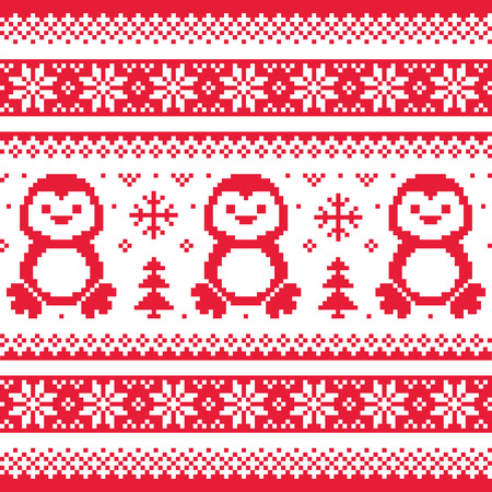 Christmas, winter knitted pattern with penguins - Scandinavian sweater style  Vector