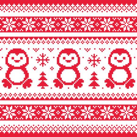 pullover: Weihnachten, Winter Strickmuster mit Pinguinen - Scandinavian Pullover Stil
