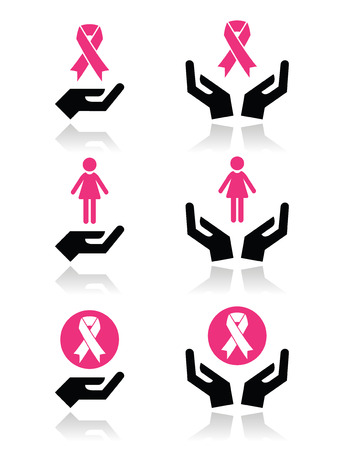 cancer ribbons: Pink ribbons - breast cancer awareness with hands icons set  Illustration