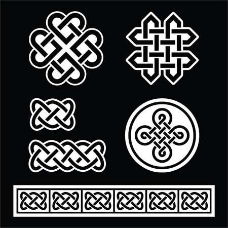 Celtic Irish patterns and braids on black background Vector
