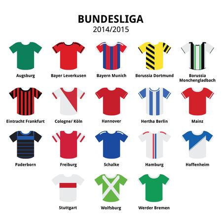 Bundesliga jerseys 2014 - 2015,German football league icons  Vector