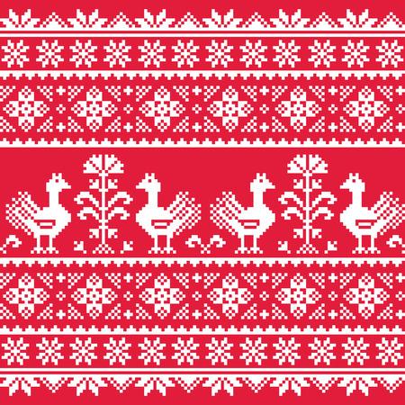 Ukrainian Slavic folk art knitted red emboidery pattern with birds Vector
