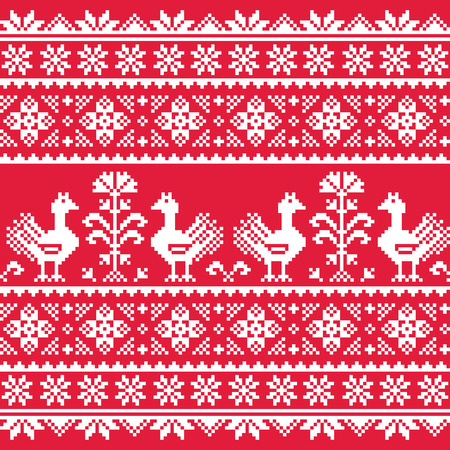 Ukrainian Slavic folk art knitted red emboidery pattern with birds Vector