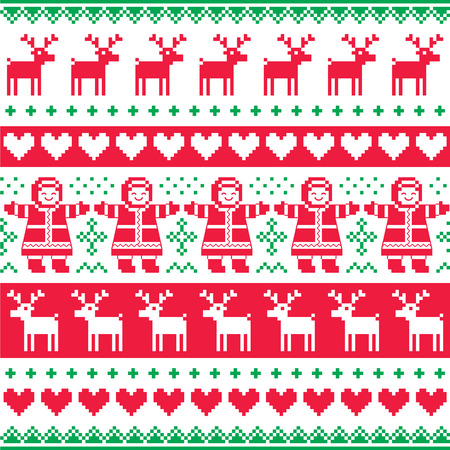 Winter, Christmas red and green seamless vector pattern or print Vector