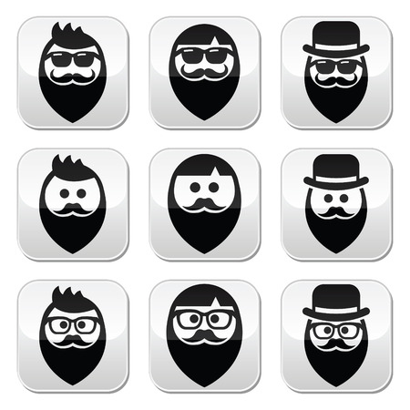 man long hair: Man with beard with moustache or mustache, hipster buttons set